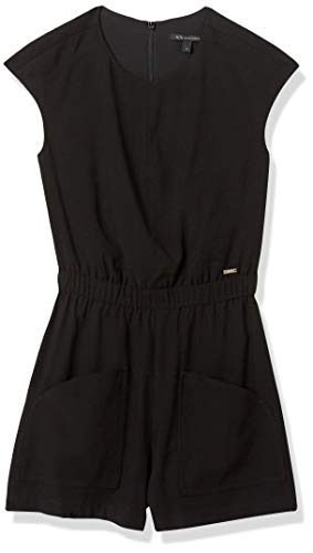 Armani Exchange AX Damen Cap Sleeve Relaxed Twill Jumpsuit Overall, schwarz, 46