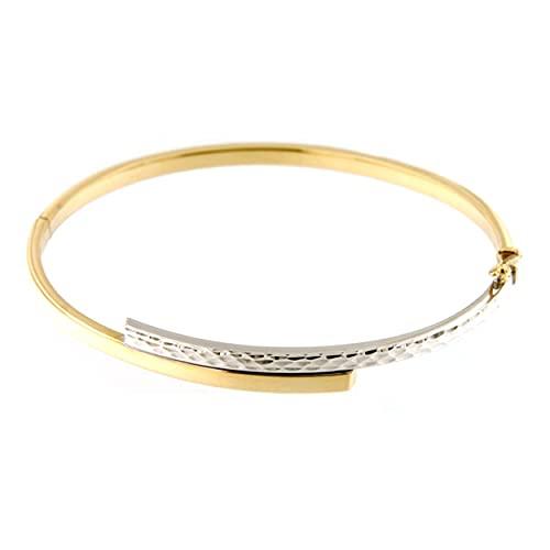 Lucchetta - Pulsera de Oro Blanco 14 kilates con Grabado, Brazalete para Mujer de Oro bicolor
