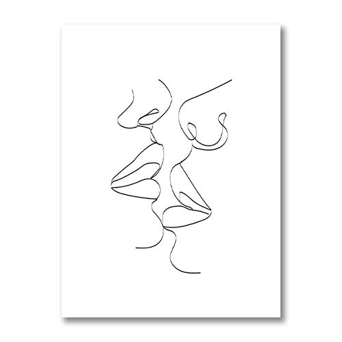 Pride Gift Lesbian Woman Kiss Line Poster Prints Black White Canvas Painting Minimalist Wall Art Living Room Home Wall Decor Picture 40×60cm Frameless
