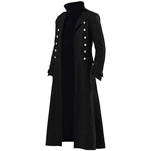Costume Steampunk d'halloween, Trench-Coat Médiéval Fantastique Sorceleur pour Hommes Gothique Victorien Cosplay Fête Uniforme Veste Steampunk,Noir,M