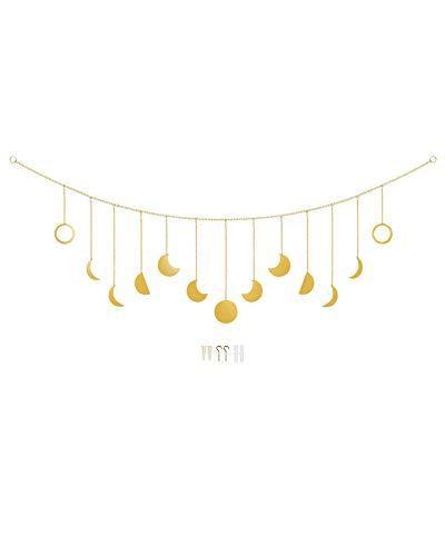besbomig Mondphase Wandbehang mit Kette - Boho Style Wandverzierung für Zuhause Büro Schlafzimmer Wohnheim Dekor Geburtstag Feste Geschenk - Gold / 13 Monde