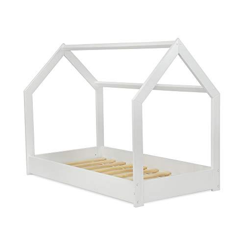 MS FACTORY Cama Infantil de Madera Pino - Cama Montessori Forma de Casa 80x160 cm para Niño y Niña - Lamas Somier - Blanco