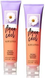 Bath and Body Works Aqua Cool Aloe Lotion Picnic Summer Daisies 5.6 Oz. 2 Set.