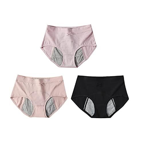 GDSSX Pantalones fisiológicos de Las Mujeres Algodón Puro Transpirable y Seguro Paquete de Ropa Interior para Mujer de 3 Cómodo (Color : Multicolor 6, Size : L)