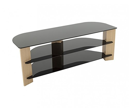 King TV Stand Wood Effect with Black Glass Shelves LCD, Curved, LED, 4K, Plasma, etc by TV Furniture Direct (2. 130cm, Oak)