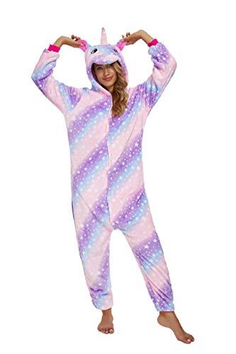 Adultos unisex unicornio Tigre Lion Fox Onesie Animal Pijamas Halloween Carnaval Disfraz Loungewear X-sky Galaxy Purple - Teléfono móvil, color morado L