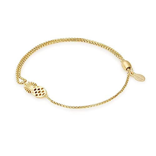 Alex and Ani Path of Symbols Adjustable Pull Chain Bracelet for Women, Pineapple Charm, 14K Gold Plated Sterling Silver, 5.5 to 9.5 in