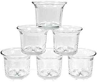 6 pc Clear Glass Votive Holders Flared Candle Holder Lot Replacement Set
