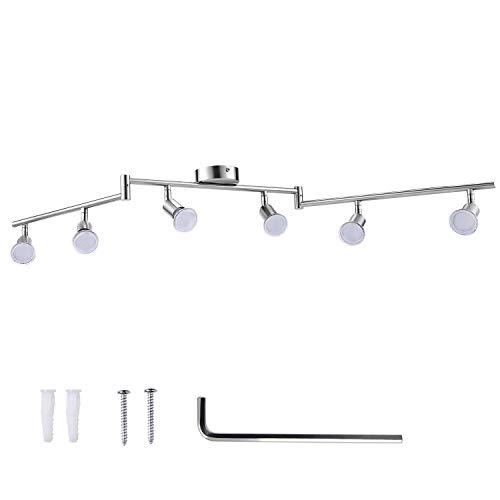 LED Deckenleuchte Schwenkbar GU10, AIBOO LED Deckenstrahler 6 Flammig Rund, Deckenspots Weiß für Küche, Schlafzimmer, Wohnzimmer (Leuchtmittel nicht)
