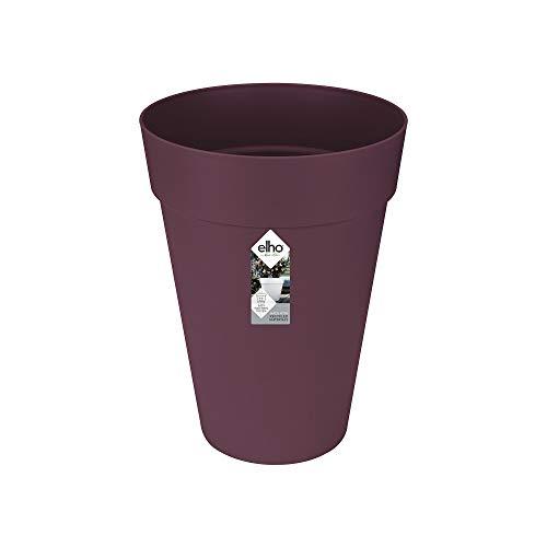 Elho Loft Urban - Vaso da fiori rotondo alto, per esterni, Ø x H cm, plastica, Viola mora, 35 cm