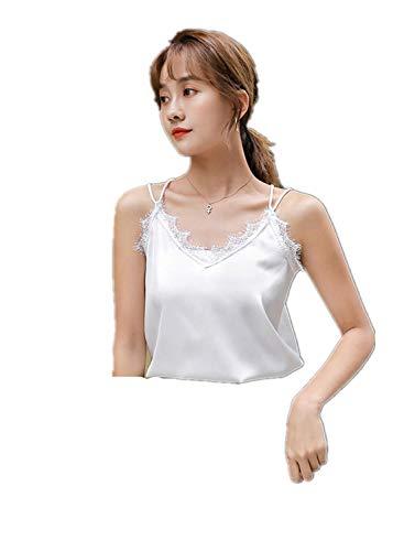 Wimper kanten hemd met losse onderkant en korte V-hals