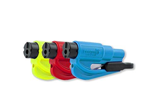 RESQME Family Pack of 3, The Original Emergency Keychain Car Escape Tool, 2-in-1 Seatbelt Cutter and Window Breaker, Made in USA, Red, Blue, Safety Yellow