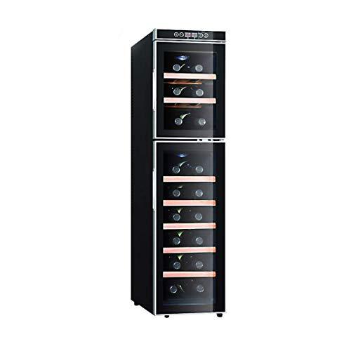 BUDBYU Raffreddatore di Vino/refrigeratore a Doppia Zona, Incorporato o autoportante, refrigeratore di Vino Rosso/Bianco/refrigeratore, Controllo Touch/Doppio Vetro temperato/Frigorifero silenzios