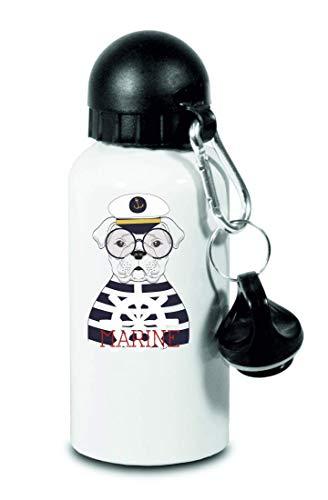 Drucklebnis24 Botella – Marine capitán perro barco – para niños, escuela, deporte, fitness – Botella de agua fina de aluminio, color Blanco, tamaño 500 ml