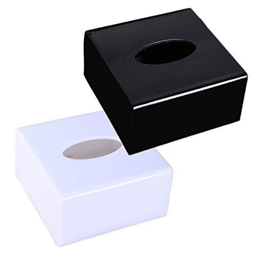 Vierkante Tissuebox, Tissuehouder/Dispenser Van Acrylmateriaal, Moderne Facial Paper Cover Met Bodem Voor Badkamer/Keuken/Auto/Kantoor - Wit/Zwart