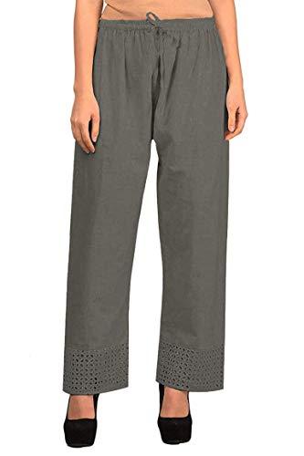 Vastraa Fusion Pantalon Palazzo en Coton Khadi Taille Unique (jusqu'à 46 cm) - Gris - Taille Unique