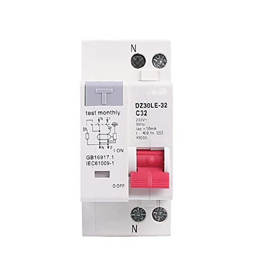 LUOXUEFEI Disyuntor Diferencial Interruptor Disyuntor De Fuga De Corriente Residual De 230 V 1P N Con Protección Contra Fugas De Corriente Corta Y Excesiva