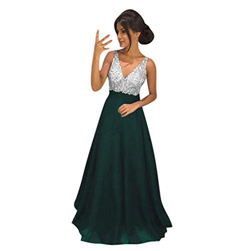 VEMOW Vestido Mujer Suelto Color sólido Sin Mangas Cuello en V Honda Lentejuela Largo Completo Vestir OtoñO Summer(Verde,2XL)