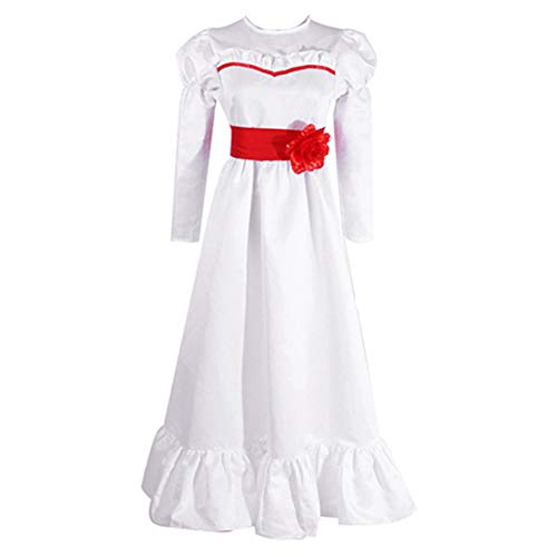 Disfraz Annabelle Mujer Niña Halloween Carnaval Vestido Blanco Fantasma Muñeca Costume/3XL