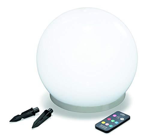 Solar Schwimmkugel 25cm mit IR-Fernbedienung, 7 Lichtfarben verfügbar, Dauerlicht oder Wechsellicht, 1 Watt Solarmodul integriert, Einsatz als Schwimmkugel oder mit Erdspießen, Leuchtkugel 102620