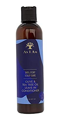 As I Am Dry & Itchy Scalp Care Leave In Conditioner - 8 ounce - Enriched with Piroctone Olamine, Ceramides, Olive Oil, and Tea Tree Oil