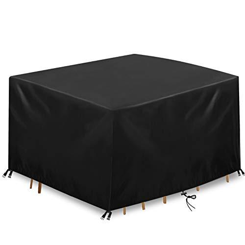 king do way Abdeckung Gartenmöbel Gartentisch Abdeckung Wasserdicht, 600D Polyester Schwarz Abdeckung für Gartenmöbel-Set, Tisch und Stühle Outdoor Staubdicht (600D Oxford, 123 X 123 X 74cm)