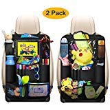 Car Back Seat Organizer Kids - Car Organizers Covers Protectors with 10' Touch Screen Tablet Holder Large Storage Pockets Kick Mats for Toy Cartoon Journey Travel Accessories (Large Pocket)