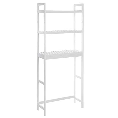 SONGMICS Over-The-Toilet Storage, 3-Tier Bamboo Bathroom Organizer with Adjustable Shelves, Multifunctional Toilet Rack, Static Load Capacity 33 lb per Tier, Easy to Assemble, White UBTS01WT