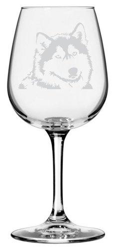 Alaskan Malamute Dog Themed Etched All Purpose 12.75oz Libbey Wine Glass
