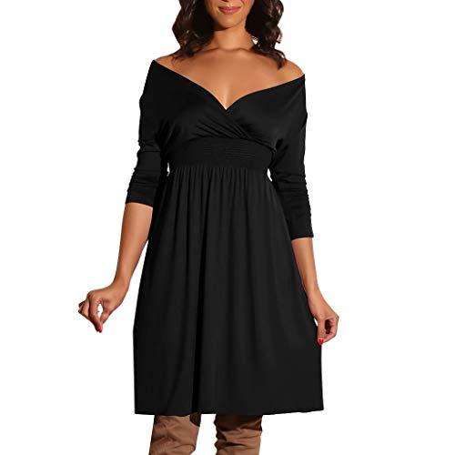 QingJiu Damenmode Damen V Ausschnitt Langarm Volltonfarbe BeiläUfiges Partykleid (Large, Schwarz)