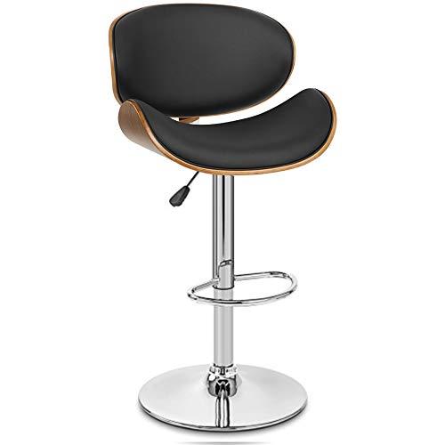 JIESD-Z Taburetes de barra de altura ajustable, moderno taburete de barra con respaldo y reposapiés, marco de madera de poliuretano, silla giratoria para desayuno, cocina y comedor