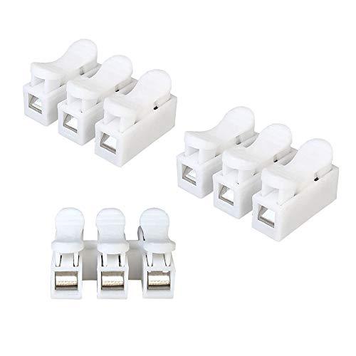 Aiqeer 60 Pezzi CH3 Connettore Molla Rapido, Morsetto a Molla Connettore, Morsettiera Molla Rapido, Collegamento per Cablaggio Elettrico e Alimentazione Illuminazione (Bianco)