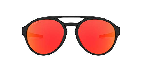 Oakley OO9421 Forager Round Sunglasses, Polished Black/Prizm Ruby, 58 mm