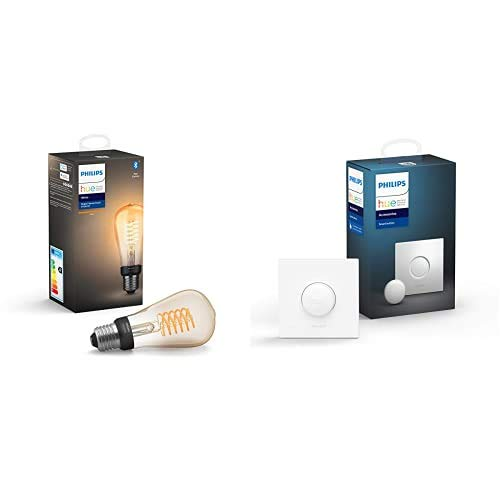Philips Hue Bombilla Inteligente LED E27, con Bluetooth, Filamento ST64, Luz Blanca Cálida, Compatible con Alexa y Google Home + Hue Interruptor Smart Button, Compatible con Alexa y Google Home