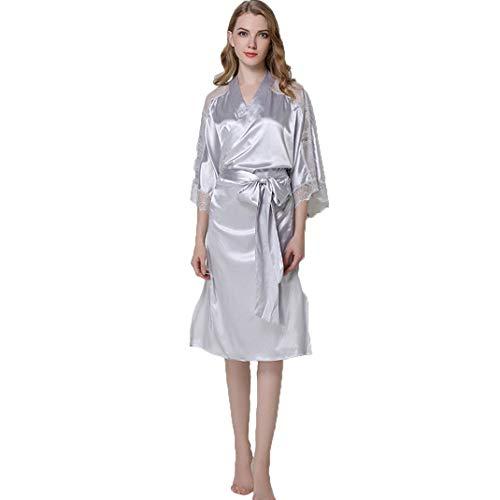 LFNIU Pijama largo de encaje para mujer vestido de noche de satén con cinturón pijama de novia kimono sexy(Color:Gray)