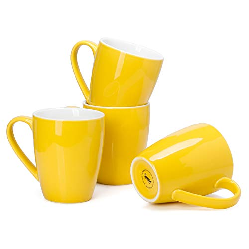 Sweese 601.405 Porcelain Mugs - 16 Ounce (Top to the Rim) for Coffee, Tea, Cocoa, Set of 4, Yellow