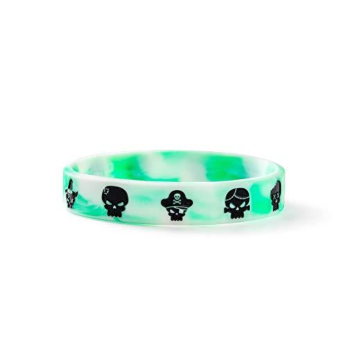 Silicone Bracelet Original Street Shackle Pattern Silicone Bracelet, Men And Women Hip Hop Personality Fashion Wrist Strap (Color : Green White)