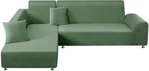 Mazu Home Kombi Sofa Set Weichmöbel Set mit 2 Weihnachtskissen L-Form Polyester Faser Elastisch Sofa Set 3 Sitze + 3 Sitze (Hellgrau)