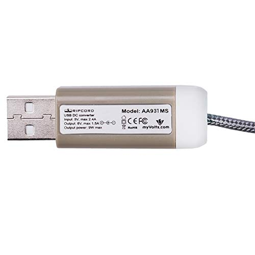 myVolts Ripcord USB to 9V DC Power Cable Compatible with The Roland AX-1 Keytar