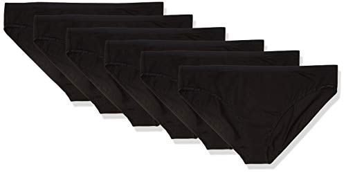 Amazon Essentials Women's Plus-Size 6-Pack Cotton Stretch Bikini Panty, Black, 4X