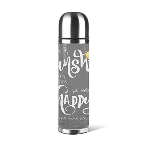 Botella de agua de acero inoxidable con diseño de zigzag «You Are My Sunshine», color amarillo sobre gris con Chevron decorativo aislado al vacío, a prueba de fugas, contenedor de viaje de doble pared, termo de 500 ml