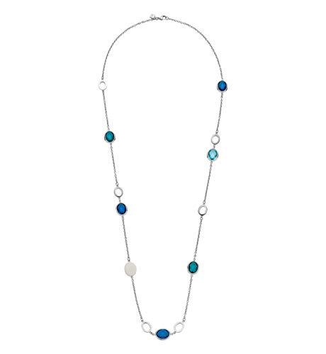 JEWELS BY LEONARDO Damen-Halskette Vivo, Edelstahl mit facettierten Glassteinen und Zirkonia-Steinchen, mit Karabinerverschluss, Länge 1000 mm, 016695