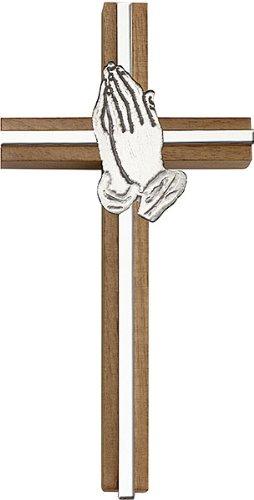 F A Dumont 6 inch Praying Hands Cross, Walnut w/Antique Silver Inlay
