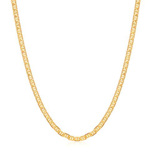 Womens Gold Chain Necklace | Barzel 18K Gold Plated Flat Mariner / Marina 3MM Chain Necklace (3MM Gold, 24)