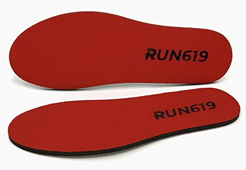 RUN619 Zero Drop Shoe Insoles - Thick Flat Cushion Shoe Inserts w/ No Arch Support - Foot Forming - Perfect for Running Walking Work or Hiking - Thick 6mm Insoles (Size D - 10 7/8' - 27.75 cm)