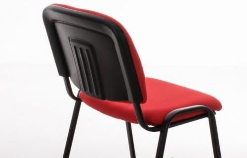 CLP Chaise Visiteur Empilable Ken Tissu I Chaise de Reception Confortable avec Dossier Pieds en Métal Robuste I Couleur: Orange Rouge
