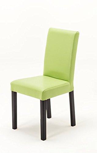 Robas Lund Silla de Comedor Verde, Juego de 2 sillas de Cocina, Patas coloniales, Piel sintética Fix