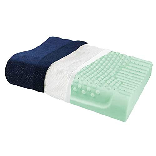 HMMHHE Almohada cervical almohada Granules almohada de látex, circulación de ventilación Bueno para mejorar el insomnio ronquido tratamiento cuello natural látex espuma hipoalergénica coverlo, 60 × 40