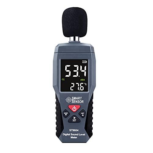 Medidor de Nivel de Sonido de Mano, medidor de decibeles LCD, Mini medidor de Ruido Digital, probador de decibeles, Alarma de decibelio, con Alarma de luz Negra roja y Alarma de Sonido