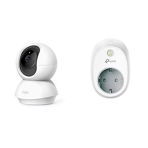 TP-Link Tapo C200 WLAN IP Kamera Überwachungskamera (1080p-Auflösung, bis zu 128 GB lokaler Speicher auf SIM Karte) Weiß & TP-Link Kasa Amazon Alexa zubehör Smart Home WLAN Steckdose HS100